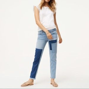 Loft Boyfriend Patched Raw Hem Jeans Blue 24 00